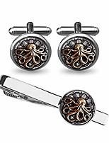 cheap -octopus cufflinks mens octopus silver handmade sea animal marine groom groomsmen best man (silver cufflinks&tie clip)