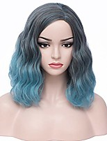 cheap -short curly bob wig charming women girls beach wave wigs for cosplay costume party wig cap included (black blue mix)