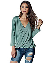 cheap -women sexy deep v-neck wrap t-shirt blouse long sleeve ruched tunic tops(x-large(us 16-18), sage green with hi-low hem)