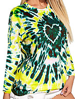 cheap -Women's Tunic Tie Dye Long Sleeve Patchwork Print Round Neck Tops Basic Top Blue Red Yellow