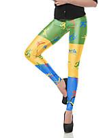 cheap -Women's Sporty Comfort Gym Yoga Leggings Pants Patterned Full Length Black Red Yellow
