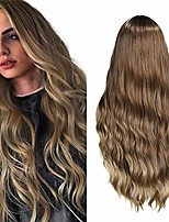 cheap -ombre wig long wavy hair 3 tones brown to blonde beach wave curly middle part halloween party cosplay daily synthetic wigs for women