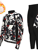 cheap -21Grams Men's Long Sleeve Cycling Jersey with Tights Winter Fleece Polyester Grey Bike Clothing Suit Thermal Warm Fleece Lining Breathable 3D Pad Warm Sports Graphic Mountain Bike MTB Road Bike