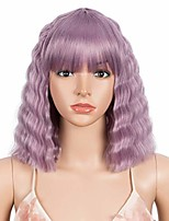 "cheap -12"" short wavy wigs with flat bangs lavender purple wig big crimped hair wig for women"