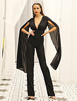 cheap -Jumpsuits Beautiful Back Sexy Party Wear Prom Dress V Neck Long Sleeve Floor Length Chiffon with Sleek 2020