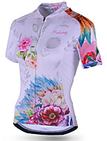 cheap -21Grams Women's Short Sleeve Cycling Jersey Polyester White Floral Botanical Bike Jersey Top Mountain Bike MTB Road Bike Cycling Breathable Quick Dry Reflective Strips Sports Clothing Apparel