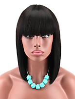 cheap -Women's Black Color Short Bob Wig with Hair Bangs Yaki Synthetic Full Hair Wig Heat Resistant Short Straight Black Wig for Women