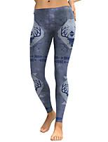 cheap -Women's Sporty Comfort Gym Yoga Leggings Pants Patterned Ankle-Length Gray