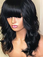 cheap -natural black synthetic wigs with bangs natural looking wavy style full machine made replacement wig for daily use and party (18 inch, natural black)