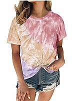 cheap -women tie dye shirt plus size tops colorful round neck tee casual printed loose fit cut out short sleeve t shirts