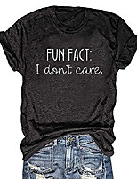 cheap -fun fact i don't care t shirt for women short sleeve tees with saying inspirational shirts tops (dark grey, medium)