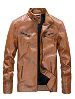cheap -mens faux leather jacket black lightweight outwear