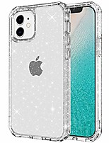 """cheap -case compatible with iphone 12 mini case,iphone 5.4"""" case glitter bling designed for girls women, shockproof rugged cover soft tpu & hard pc case for iphone 5.4 inch 2020,clear glitter"""