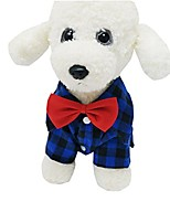 cheap -fashion boy pet dogs bow tie lattice shirt for wedding party small puppy clothes (blue, m)