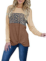 cheap -womens long sleeve waffle knit shirts fall leopard patchwork tie knot crewneck pullover tops burgundy
