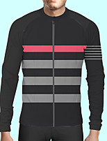 cheap -CAWANFLY Men's Long Sleeve Cycling Jersey Polyester Black Patchwork Bike Jersey Top Mountain Bike MTB Road Bike Cycling Quick Dry Sports Clothing Apparel / Stretchy / SBS Zipper / Italian Ink