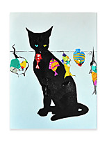 cheap -Animal Oil Painting On Canvas Black Cat Abstract Contemporary Art Wall Paintings Handmade Painting Home Office Decorations Canvas Wall Art Painting Rolled Canvas No Frame