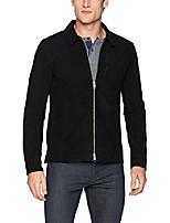cheap -men's suede zip overshirt, black, x-large