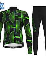 cheap -21Grams Men's Long Sleeve Cycling Jersey with Tights Winter Fleece Polyester Black / Yellow Blue Orange Bike Clothing Suit Thermal Warm Fleece Lining Breathable 3D Pad Warm Sports Graphic Mountain