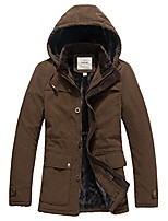 cheap -men's winter faux fur-lined parka jacket wadded coat with removable hood coffee xl