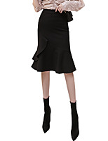cheap -Women's Causal Daily Active Streetwear Skirts Solid Colored Ruffle Black