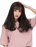 "cheap -gooaction 17.7"" medium length natural lightly wavy wig with airy bangs for women girls cosplay anime lolita synthetic hair 45cm brownish black color"