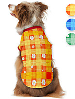 cheap -Dog Shirt / T-Shirt Plaid Daisy Cute Casual / Daily Dog Clothes Puppy Clothes Dog Outfits Breathable Blue Orange Green Costume for Girl and Boy Dog Polyster S M L XL