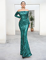 cheap -Sheath / Column Vintage Sexy Prom Formal Evening Dress Off Shoulder Long Sleeve Floor Length Sequined with Sequin 2020