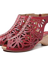 cheap -Women's Sandals Chunky Heel Peep Toe Daily Walking Shoes Leather Floral Red Coffee