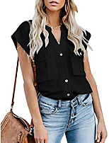 cheap -womens loose casual cap sleeve button utility shirts split neck top blouse with pockets chocolate