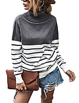 cheap -2020 women's turtleneck striped knit sweater loose casual color block patchwork winter pullover tops grey