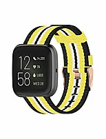 cheap -22mm canvas quick release watch band strap compatible with fitbit versa/versa lite/versa 2 women men breathable woven fabric strap, adjustable replacement wristband (yellow)