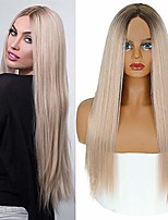 cheap -misswig long straight blond ombre wigs for women dark roots middle part synthetic full wig cosplay wigs
