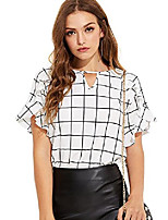 cheap -women's casual ruffle sleeve keyhole front blouse shirt top (x-large, white)