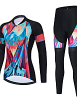 cheap -Women's Long Sleeve Cycling Jersey with Bib Tights Cycling Jersey with Tights Cycling Jersey Winter Black Blue Black / White Bike Breathable Quick Dry Sports Graphic Mountain Bike MTB Road Bike