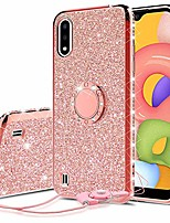 cheap -samsung galaxy a01 case,ring kickstand glitter cute bling cover for girls women diamond sparkly compatible case for samsung galaxy a01 phone cases - rose gold