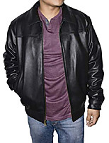 cheap -outfitters men's genuine leather bomber jacket - black - medium