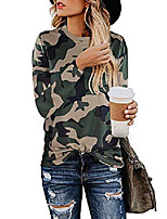 cheap -women's long sleeve tops sexy leopard print o neck cute casual pullover blouse shirt
