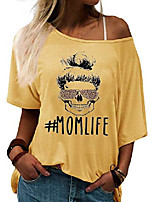 cheap -womens mom life shirt funny graphic skull leopard print sunglasses off shoulder bat sleeve tops (yellow, l)