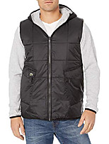 cheap -mens sport long sleeve reversible cargo pocket short parka jacket, black/silver heathered, m