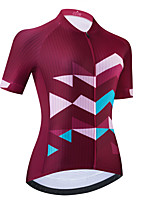 cheap -Women's Short Sleeve Cycling Jersey Burgundy Bike Top Mountain Bike MTB Road Bike Cycling Breathable Quick Dry Sports Clothing Apparel / Stretchy / Athletic