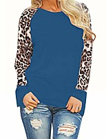 cheap -woman leopard color block shirt long sleeve casual tops round neck t-shirt tee blouses blue