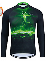 cheap -WECYCLE Men's Women's Long Sleeve Cycling Jersey Winter Fleece Polyester Green Lightning Bike Jersey Top Mountain Bike MTB Road Bike Cycling Fleece Lining Breathable Warm Sports Clothing Apparel