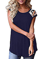 cheap -womens floral short sleeve round neck summer casual loose tops basic t shirts navy blue m