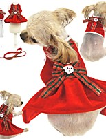 cheap -Dog Cat Harness Training Leash Christmas Dog Collar Adjustable Flexible Outdoor Walking Santa Claus Christmas Tree Cotton Golden Retriever Corgi Bulldog Bichon Frise Schnauzer Poodle Red Rose 2pcs
