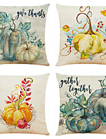 cheap -Cushion Cover 4PCS Thanksgivi Party Decoration Christamas Gift Linen Soft Decorative Square Throw Pillow Cover Cushion Case Pillowcase for Sofa Bedroom 45 x 45 cm (18 x 18 Inch) Superior Quality Mashi