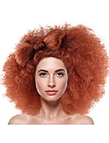cheap -fluffy fashion afro wig with hair bow, multiple color options, one size fits all (adult and kids) (dark auburn)