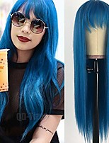 cheap -greenish blue hair long straight wigs with bangs heat resistant synthetic no lace wigs for women 22 inch