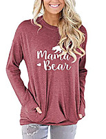 cheap -womens mama bear long sleeve pullover sweatershirt novelty funny loose graphic tee tops with pockets light red