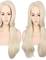 cheap -adult women's long beige wave cosplay wig halloween party costume wigs (beige)